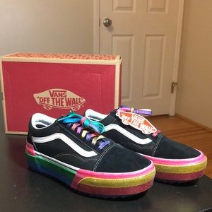 VANS NEW Old Skool Stacked Rainbow Glitter Sz 10